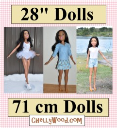 """The image shows the 28"""" Best Fashion Friend life-sized Barbie doll modeling several different handmade outfits including a short-sleeved shirt, a long-sleeve shirt, a skirt, a pair of shorts, and a ballerina tutu (which can also be just a swimsuit or tumbling / gymnastics / ice skating / athletic leotard. Below the image, there's a link to a gallery of all the fee printable sewing patterns and tutorials you would need to make a wardrobe for your 28-inch dolls (71 cm dolls)."""