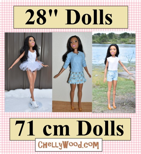 "The image shows the 28"" Best Fashion Friend life-sized Barbie doll modeling several different handmade outfits including a short-sleeved shirt, a long-sleeve shirt, a skirt, a pair of shorts, and a ballerina tutu (which can also be just a swimsuit or tumbling / gymnastics / ice skating / athletic leotard. Below the image, there's a link to a gallery of all the fee printable sewing patterns and tutorials you would need to make a wardrobe for your 28-inch dolls (71 cm dolls)."