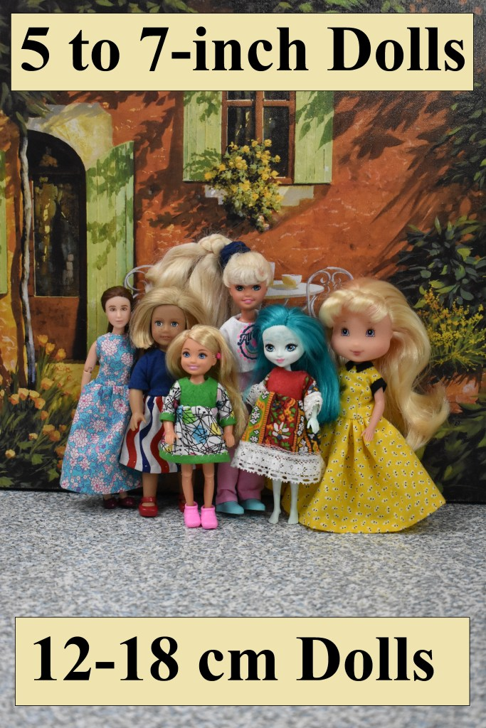 Here we see a photo of very small dolls, all wearing handmade doll clothes using the free printable sewing patterns found at ChellyWood.com. The photograph includes the following dolls, pictured from left to right: 6-inch Breyer Rider dolls, a 6-inch American Girl Mini doll, a 5-inch Chelsea doll, a 7-inch vintage Stacie doll,