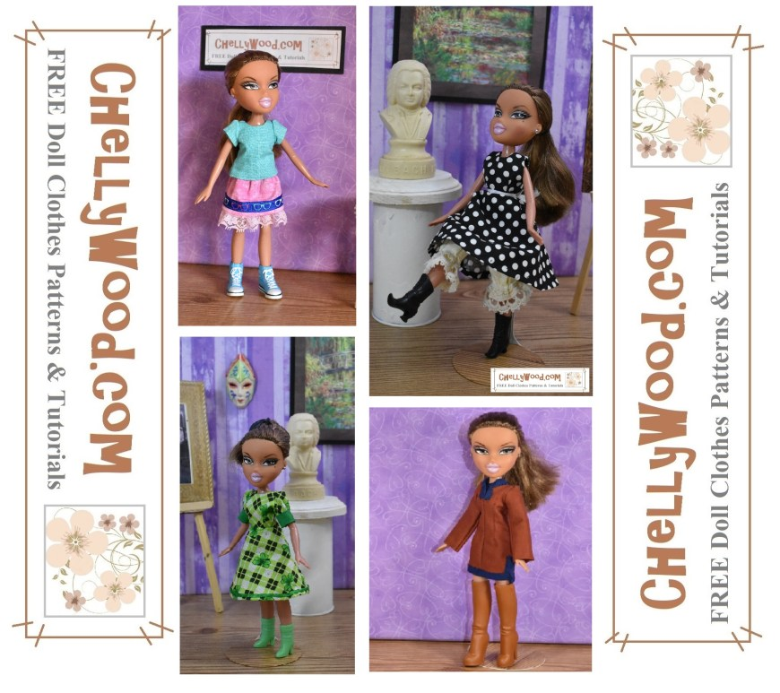 The image shows an MGA Entertainment Bratz doll modeling four different outfits. In the upper left corner is a skirt and shirt combination; in the upper right corner is a sleeveless A-line dress with bloomers; in the lower left corner is a Kelly green St. Patrick's Day themed A-line dress with puff sleeves and cuffs; and in the lower right corner is a tunic or shirt dress with contrasting trim. You can make each of these doll clothes items using the free printable sewing patterns found at ChellyWood.com, a website that's best know for free printable sewing patterns for dolls of many shapes and all different sizes.