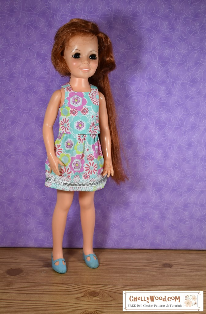 Vintage Crissy doll (made by Ideal Toy Corp) wears a 1970's style skirt and sleeveless shirt.