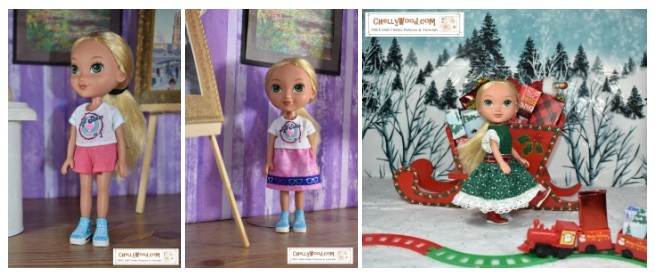 "The image shows the ""Alana"" doll from Dora and Friends wearing handmade doll clothes including a pair of shorts, a T-shirt, a skirt trimmed in ""hipster-style"" ribbon, and a Christmas dress with lace trim. Each image of the doll is in a diorama setting; two of the pictures show the doll standing in a museum diorama; the third image shows the doll standing in a snowy North Pole setting next to a red Christmas sleigh with a toy train running across the snow in the foreground. For the free printable sewing patterns and tutorial videos showing how to make these outfits for you 8-inch dolls, please visit ChellyWood.com"