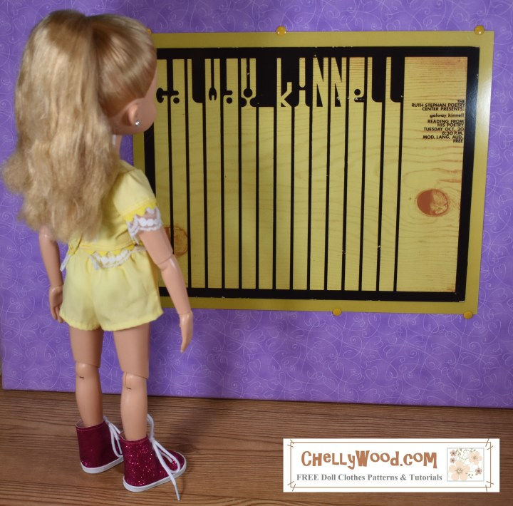 "Please visit Chellywood.com for free printable sewing patterns for dolls of many shapes and sizes. The image shows a BFC Ink 18"" doll wearing clothes made using free printable PDF swing patterns found at ChellyWood.com and the doll stands before a retro poster that looks a lot like a piano keyboard. The retro keyboard comes from the UA (University of Arizona) Poetry Center and is used here with permission. The doll's clothes include a lace trimmed shirt and a pair of elastic-waist shorts."