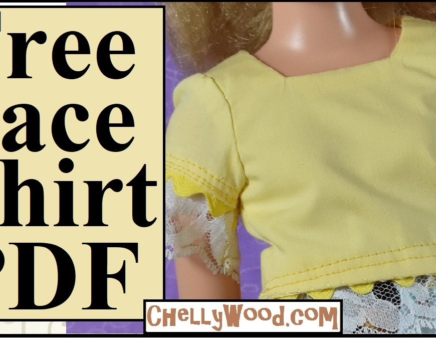This is the youtube tutorial header for a video showing you how to make your own square-neck shirt with lace trim and a scalloped edge that uses rickrack trim. The patterns for making this lace shirt are free to download and print at ChellyWood.com