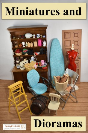 The image shows a collection of doll furniture, miniature objects, and miscellaneous items used in doll videos on ChellyWood.com. Below the image is a link to the directory for diorama tutorials and free printable PDF patterns for various items like the doll four-poster bed, the doll ironing board, and various items of furniture and miniatures.