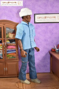 The image shows a GI Joe action figure wearing denim bell-bottom pants / jeans and a blue cotton shirt. He also sports a felt sailor's cap like someone in the US Navy might wear as a petty officer. The website ChellyWood.com appears on the image to show you where you can go to download the free printable sewing patterns for making this outfit. Feel free to share this image on social media, but please tell what website it comes from. Thank you!