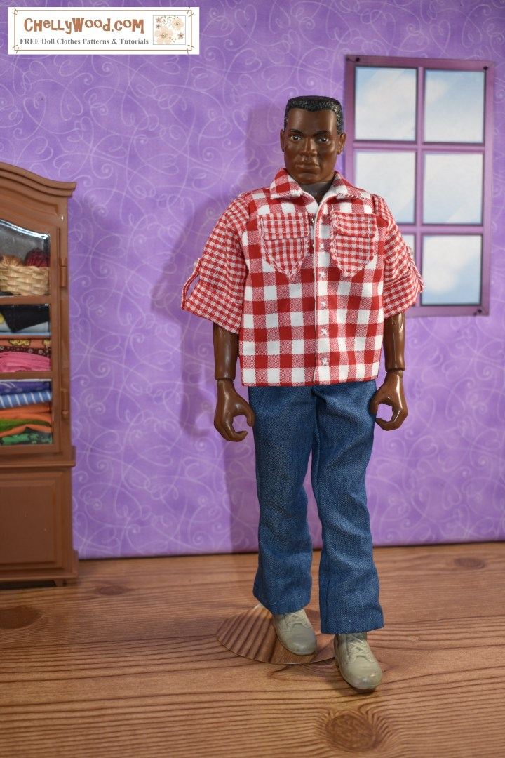 The image shows a GI Joe action figure modeling a handmade gingham western-style camp shirt with rolled up sleeves and front pockets. The gingham shirt uses two different sizes of gingham check. The larger check is on the front and collar of the shirt; the small check pattern is on the sleeves and pockets. The action figure models a shirt you can make using free printable PDF sewing patterns found at ChellyWood.com (a website with lots of free PDF patterns).