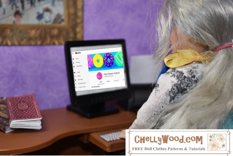 "The image shows the Chelly Wood doll from ChellyWood.com viewing her computer screen, and on the screen is the YouTube channel entitled ""Pipe Cleaner Crafts,"" which is the topic of this week's hashtag Friday follow feature on ChellyWood.com"
