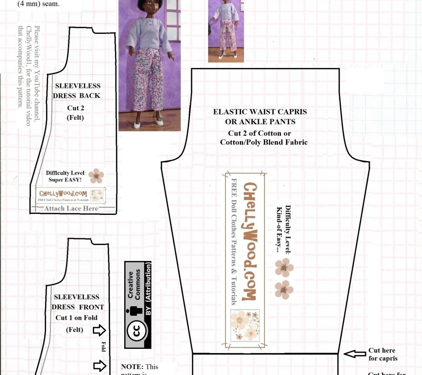 This is a jpg image of a PDF free printable sewing pattern for doll clothes that fit 9 inch dolls. It includes a pattern for sewing capri pants, ankle pants, and a felt dress. You can download and print the PDF pattern for free at ChellyWood.com