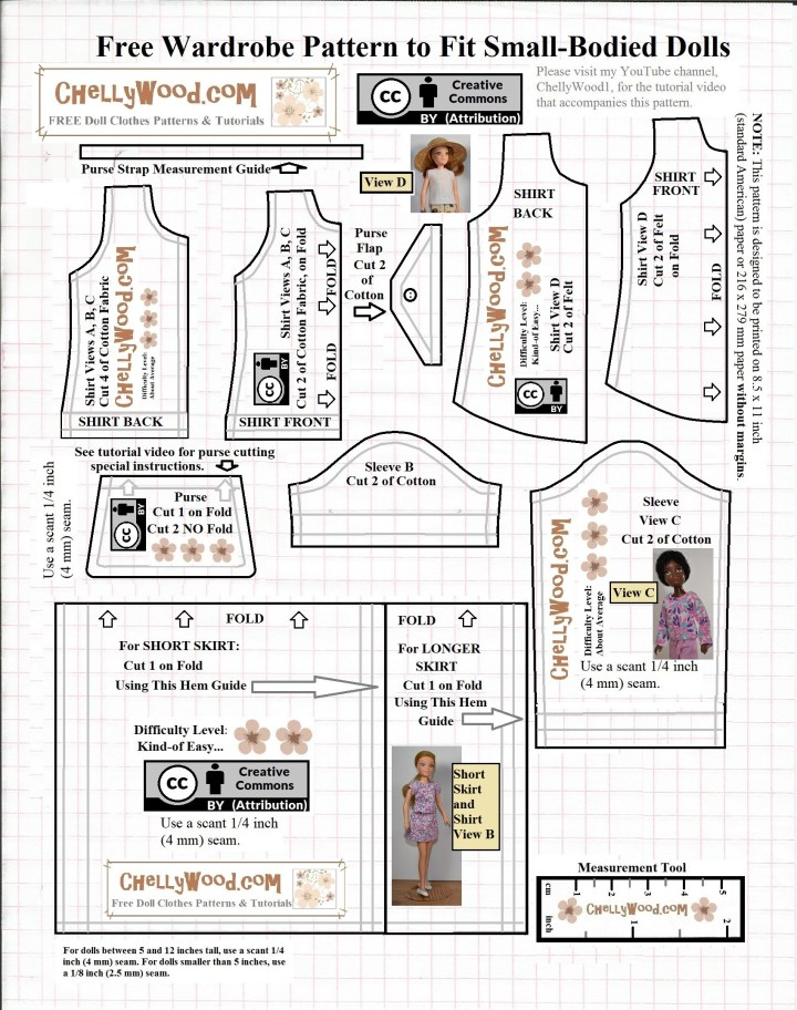 This image shows a PDF style pattern layout for 8 inch dolls, 9 inch dolls, 22 cm dolls, 23 cm dolls. The paper pattern is available as a PDF, but this JPG image is just a line drawing of the free doll clothes patterns. Go to ChellyWood.com for the free printable PDF patterns for making these dolls' clothes.