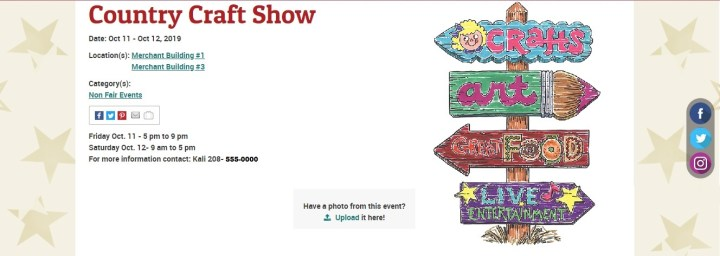 The image shows an online ad for a craft fair / craft show at the Twin Falls County fairgrounds.