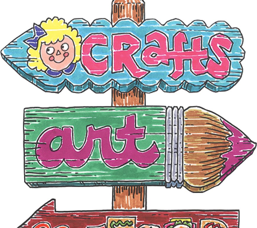 The image shows a sign giving directions with arrows pointing in the direction of an arts and crafts fair.