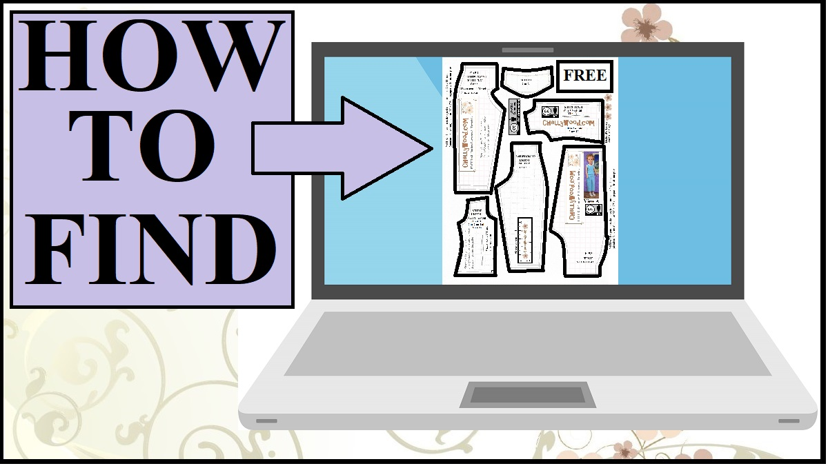 "This image shows a laptop computer open to a printable PDF of a doll clothes pattern. The overlay says ""How to Find"" and the title of the video that accompanies this YouTube video header is ""How to find free doll clothes patterns online."" This tutorial video will show you how to navigate ChellyWood.com, one of the most comprehensive doll clothes pattern websites on the Internet, offering free printable doll clothes patterns for dolls of many shapes and all different sizes."
