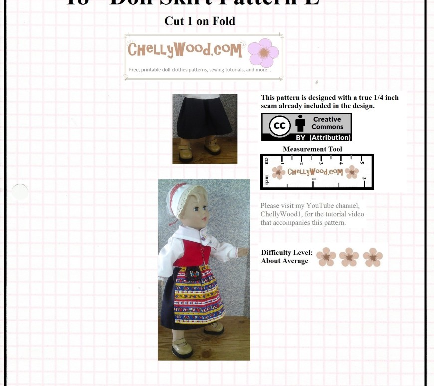 This is a free printable sewing pattern for doll clothes to fit an 18 inch doll. The pattern downloads as a PDF, and you can print it at home from this safe online resource, ChellyWood.com (a doll clothes sewing website that's best known for providing free printable sewing patterns for dolls of many shapes and sizes. Today's free printable 18 inch doll clothes pattern is part of a Swedish Traditional dress / costume for 18-inch dolls. It includes an apron, a Pilgrim-style bonnet, a shirt with a collar, long sleeves, and cuffs, a calf-length skirt, and a vest. It also includes a felt pocket - purse in the traditional Swedish style.