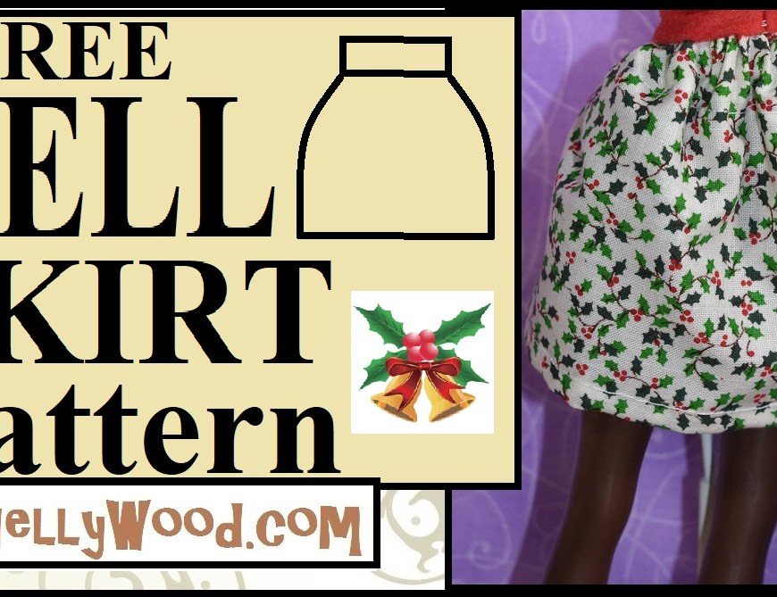 "The image shows a fashion doll (a Queens of Africa 11 inch doll, shaped a lot like a Barbie doll) wearing a handmade bell-shaped skirt with a holly print fabric. The overlay says, ""FREE Bell Skirt Pattern"" and offers the URL ChellyWood.com, where you can find free printable sewing patterns and tutorial videos showing how to make hundreds of free PDF patterns for doll clothes that you can easily download for free on the website."