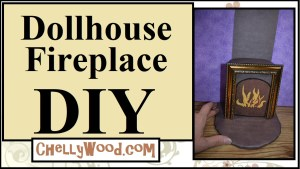 """Click on the blue hyperlink words below this image, if you'd like to watch the video tutorial that shows how to make a 1:6 scale dollhouse fireplace. This project uses scrapbook paper with a """"brick look,"""" foam board, glue, hot glue, a picture frame, a cardboard box, markers, and a pencil to build the miniature fireplace."""