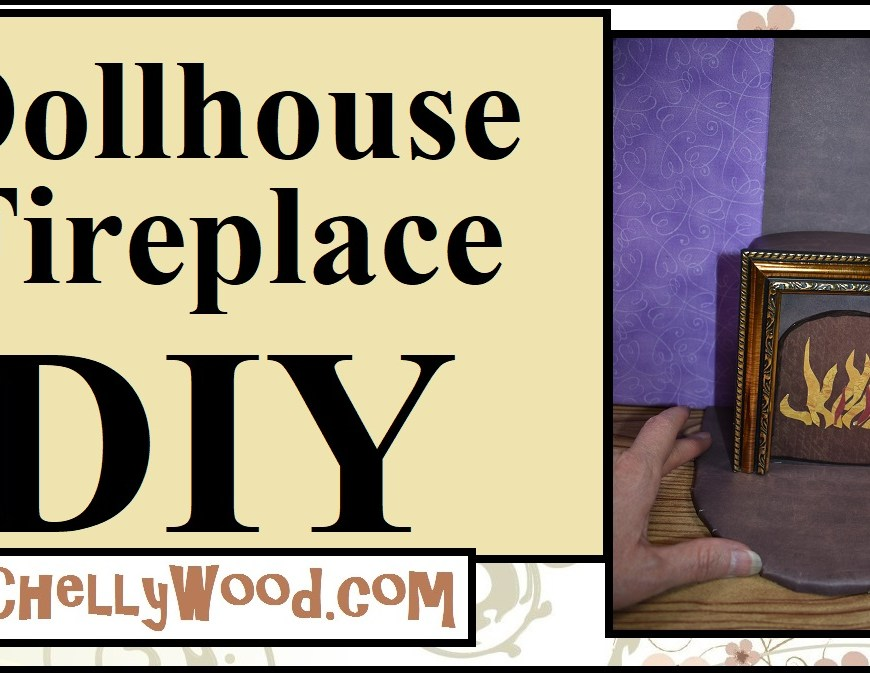 "Click on the blue hyperlink words below this image, if you'd like to watch the video tutorial that shows how to make a 1:6 scale dollhouse fireplace. This project uses scrapbook paper with a ""brick look,"" foam board, glue, hot glue, a picture frame, a cardboard box, markers, and a pencil to build the miniature fireplace."