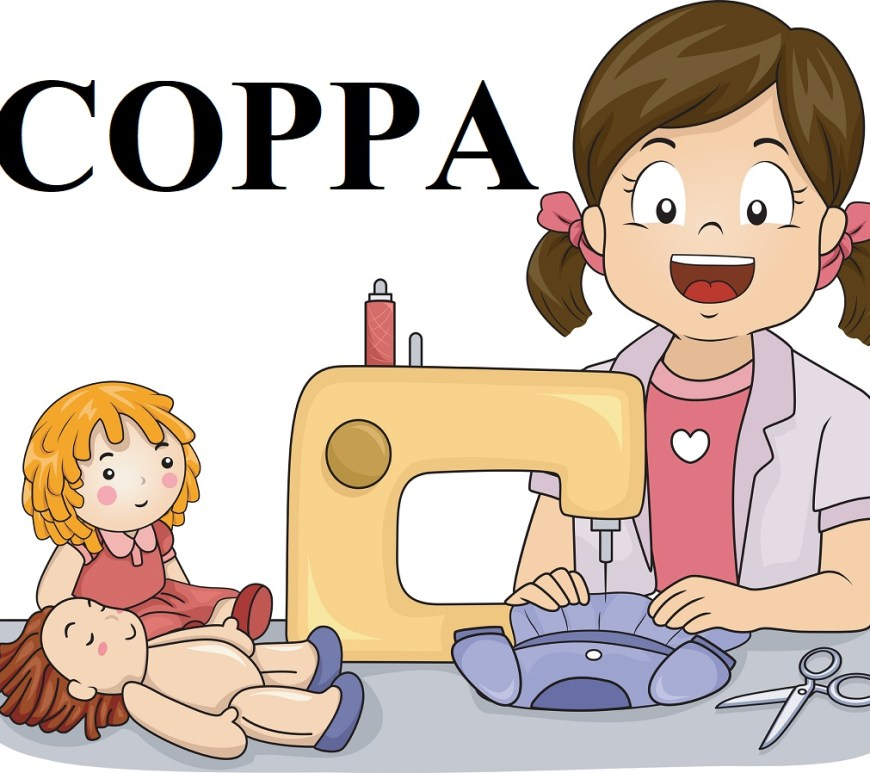"The image is a cartoon drawing of a little girl sitting at a sewing machine, making doll clothes. Beside the sewing machine are two dolls: one is not wearing doll clothes and the other is fully dressed. The text on the image says ""COPPA"" which stands for the ""Children's Online Privacy Protection Act."" This image comes from ChellyWood.com, a website that offers free printable sewing patterns for doll clothes that fit dolls of many shapes and sizes."