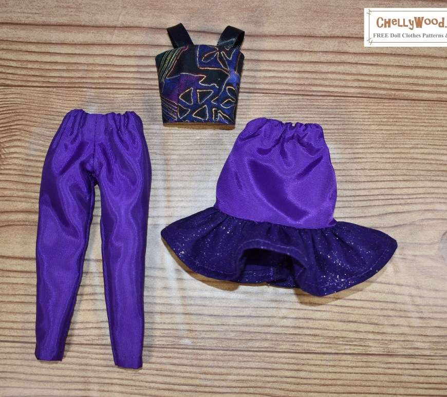 Click on the link in the caption, and it will take you to a page where you can download the free PDF sewing patterns for making these doll clothes. The image shows a skirt with a ruffled edge, a pair of ankle pants, and a strappy summer top to fit 11.5 inch or 11 inch fashion dolls. The fabric is shiny, purple, and almost iridescent. The skirt's ruffle has glitter speckles on it, and the matching summer top has geometric shapes in purple, black, and gold.