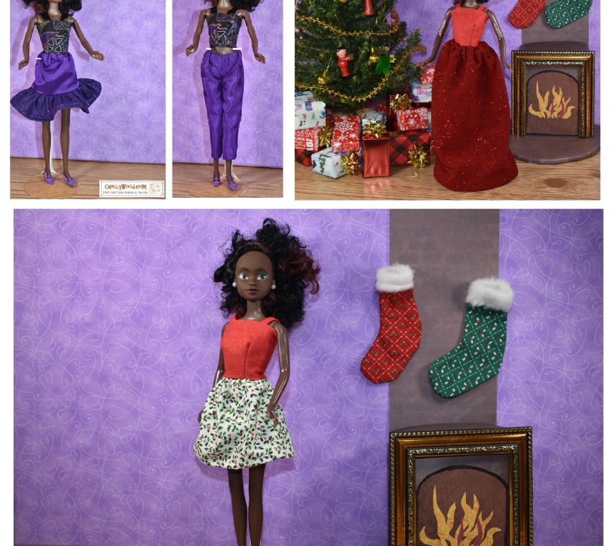This is a mock-up image of the Queens of Africa gallery of doll clothes sewing patterns at ChellyWood.com, a website where you can find free printable PDF sewing patterns to fit dolls of many shapes and all different sizes. The image shows Azeezah, a Queens of Africa doll modeling handmade doll clothes that include three different styles of skirts, a pair of ankle pants, and a strappy summer top in both felt and cotton fabrics. The doll can be purchased at https://queensofafricadolls.com/ or on Amazon