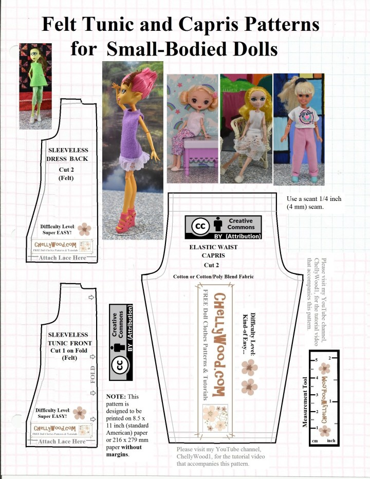 This is a pattern for Capri pants (pedal pushers) and a Felt Tunic dress. These Patterns are FREE Printable PDF Sewing Patterns for Making Doll Clothes to Fit Monster High Ever After High Kuu Kuu Harajuku, and Retro Vintage Stacie Dolls