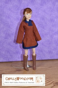 This image of a Breyer Rider doll demonstrates that the typical Breyer Rider doll can wear the tunic pattern that's free and printable in the form of a PDF sewing pattern at ChellyWood.com
