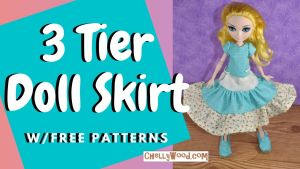 """The image shows an Ever After High doll wearing a 3 tiered ruffle style skirt with a handmade shirt that matches the fabric of the middle tier of the 3-tiered skirt. The overlay says """"3 tier doll skirt with free patterns"""" and this is the youtube header for a tutorial by Chelly Wood on how to make a doll's skirt with three gathered tiers. To find Chelly's free pattern and tutorial video for making a skirt like this, please go to ChellyWood.com"""