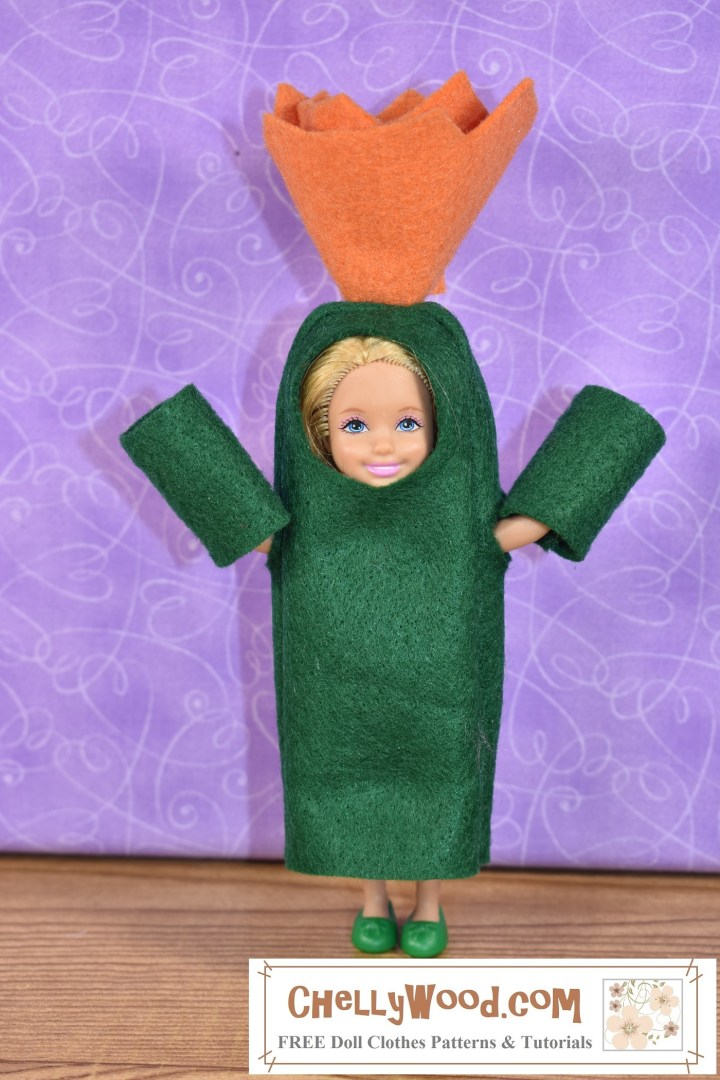 This image shows a Mattel Chelsea doll wearing a handmade Halloween costume or school play costume. The free pattern that ChellyWood.com offers for making a ghost costume was used to make this little cactus adaptation. Click on the link in the caption to read the directions for making your own cactus costume for miniature dolls like Chelsea and other 5-inch dolls.