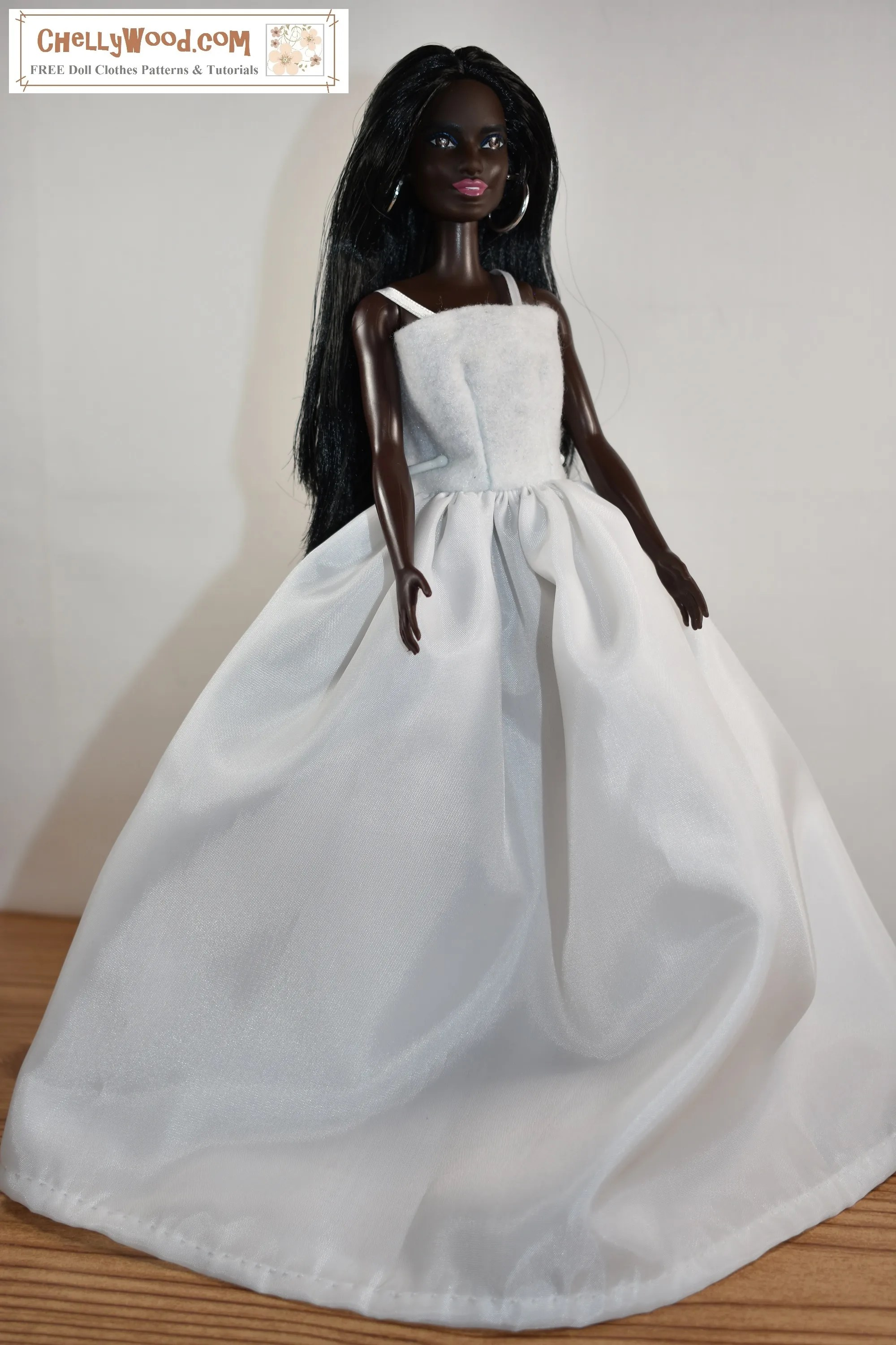 Free Barbie Wedding Dress Patterns And Tutorial Chellywood Com Junewedding Maidofhonor Free Doll Clothes Patterns