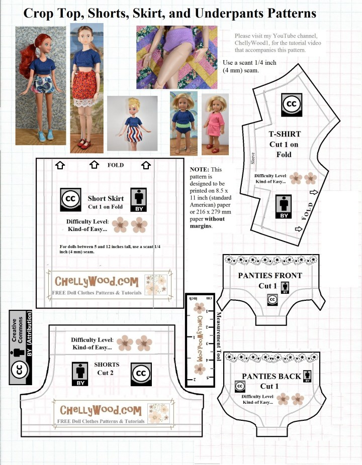 Visit ChellyWood.com for free printable sewing patterns for making doll clothes to fit dolls of many shapes and all different sizes. The image is a JPG format sewing pattern for a crop top, shots, a miniskirt, and underpants to fit most 9 inch to 10 inch fashion dolls like Skipper, Disney Princess dolls, Tinkerbell fairy dolls, and Momoko among others.