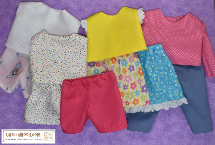 This image shows a series of doll clothes laid out on a purple background. The doll clothes in bright colors include short sleeved shirts, a long-sleeved shirt, three different skirts, a pair of jeans, a pair of shorts, and a set of pajamas.