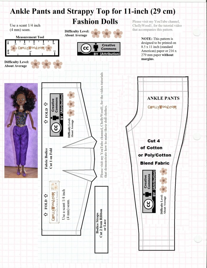 This JPG image shows a basic bodice with strap pattern and a pants pattern to fit 11 inch fashion dolls like Barbie, Francie, Queens of Africa, Momoko, and Spin Master Liv dolls, as well as the 11 inch Disney Princess fashion dolls. Please visit ChellyWood.com to download the free printable PDF sewing pattern and to view the accompanying instructional tutorial video showing how to make barbie -sized doll clothes.