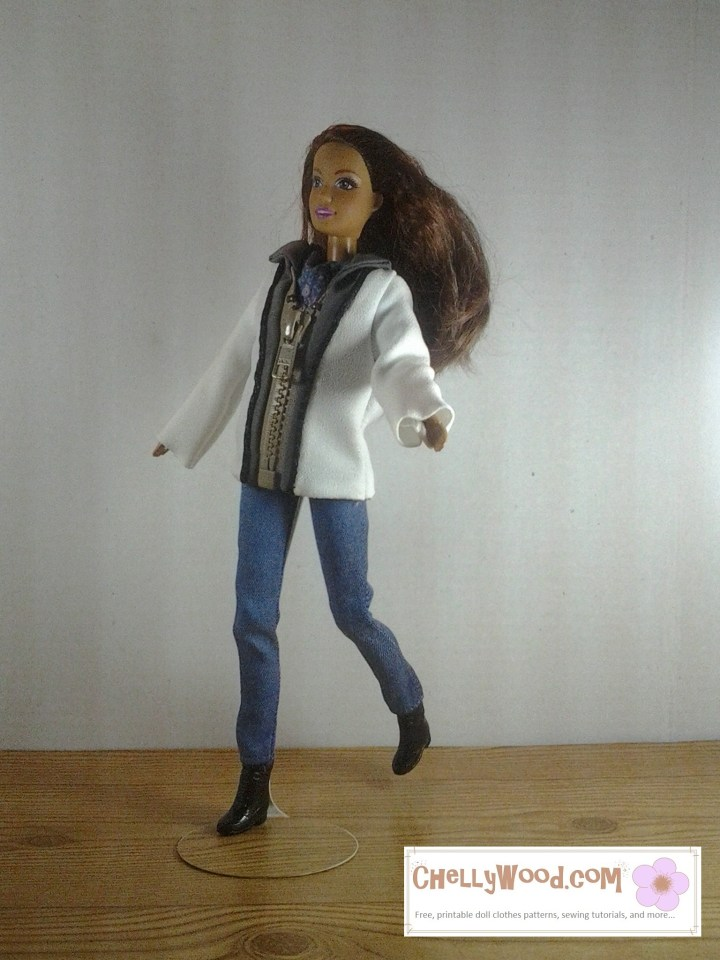 Mattel's Teresa doll appears to be running in a pair of slim-fitting ankle pants and a zipper jacket, along with tiny plastic boots with a slight heel. Would you like to sew a pair of ankle pants and a zip-front jacket with a collar for your 11.5-inch to 12 inch fashion dolls? Click on the link in the caption, and it will take you to a page where you can download and print all the free printable sewing patterns for making these doll clothes, along with links to tutorial videos that show you how to make this outfit.
