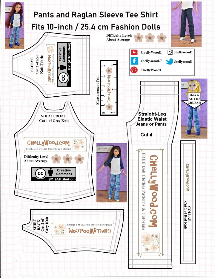 The image is a JPG version of the free printable PDF sewing pattern for a pair of straight-leg pants or jeans along with a raglan sleeved T-shirt (sometimes spelled tee shirt) that will fit 10 in dolls like Skipper, Project MC squared dolls, Petite Barbie dolls, and Disney princess 10 inch dolls. For the PDF version of this t-shirt and jeans pattern and the tutorial video with instructions for how to make these doll clothes, please visit ChellyWood.com