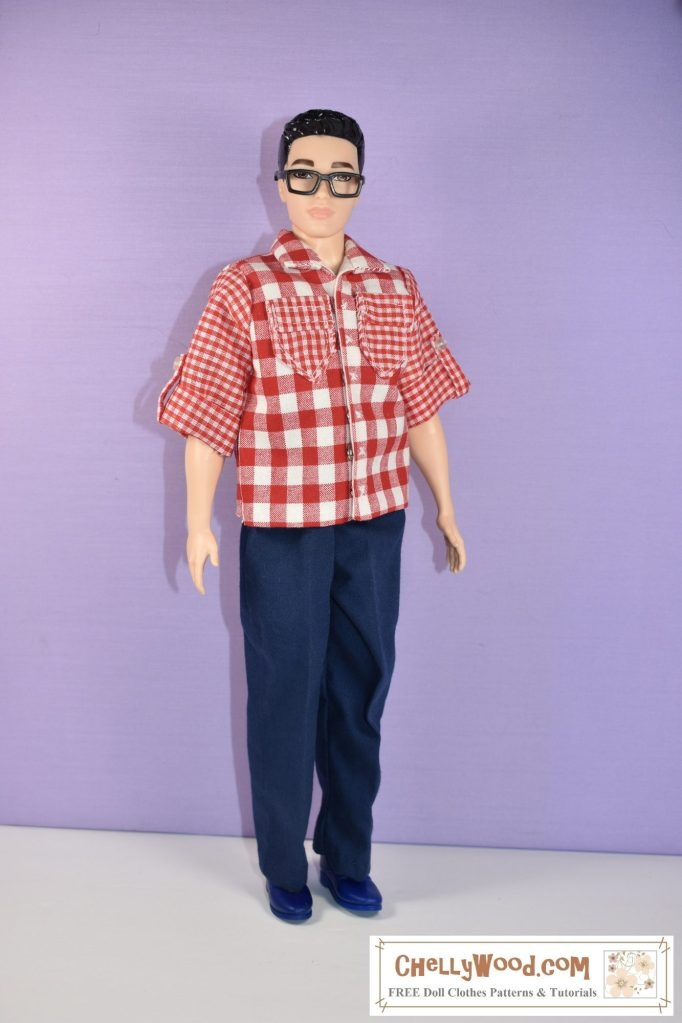 The image here shows a Mattel Broad Ken fashion doll modeling handmade doll clothes which include a pair of elastic waist pants and a camp shirt with pockets, rolled sleeves, and sleeve tabs and a collar. Free patterns for sewing this outfit are found at ChellyWood.com and they will fit Broad Ken and similar sized male fashion dolls. There's a list of all the dolls and action figures that can wear this outfit at ChellyWood.com