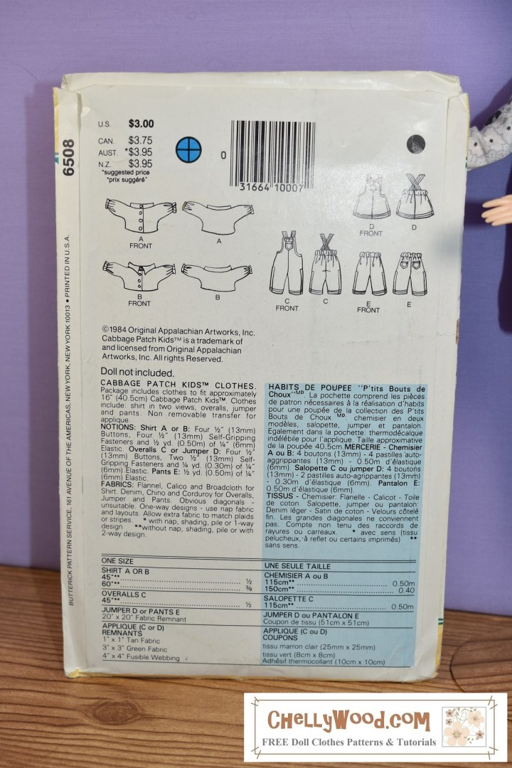 This image shows the back of Butterick craft pattern #6508 for sewing overalls to fit large baby dolls or Cabbage Patch dolls.