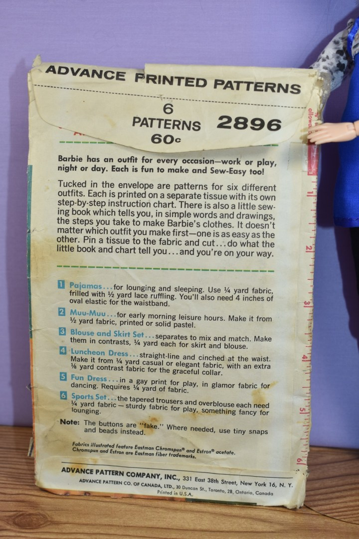 "The image shows the back of Mattel Barbie pattern #2896. In the blog post which includes this image, we're learning about how a used pattern isn't always ""what you see is what you get"" and specifically, the pattern we're talking about in this blog post is an antique pattern for sewing Barbie doll clothes for Mattel's vintage Barbie from 1962 or earlier. With this image, we're comparing the instructions on the back of Mattel Pattern #2896 to the back of McCall's Pattern number 6420."