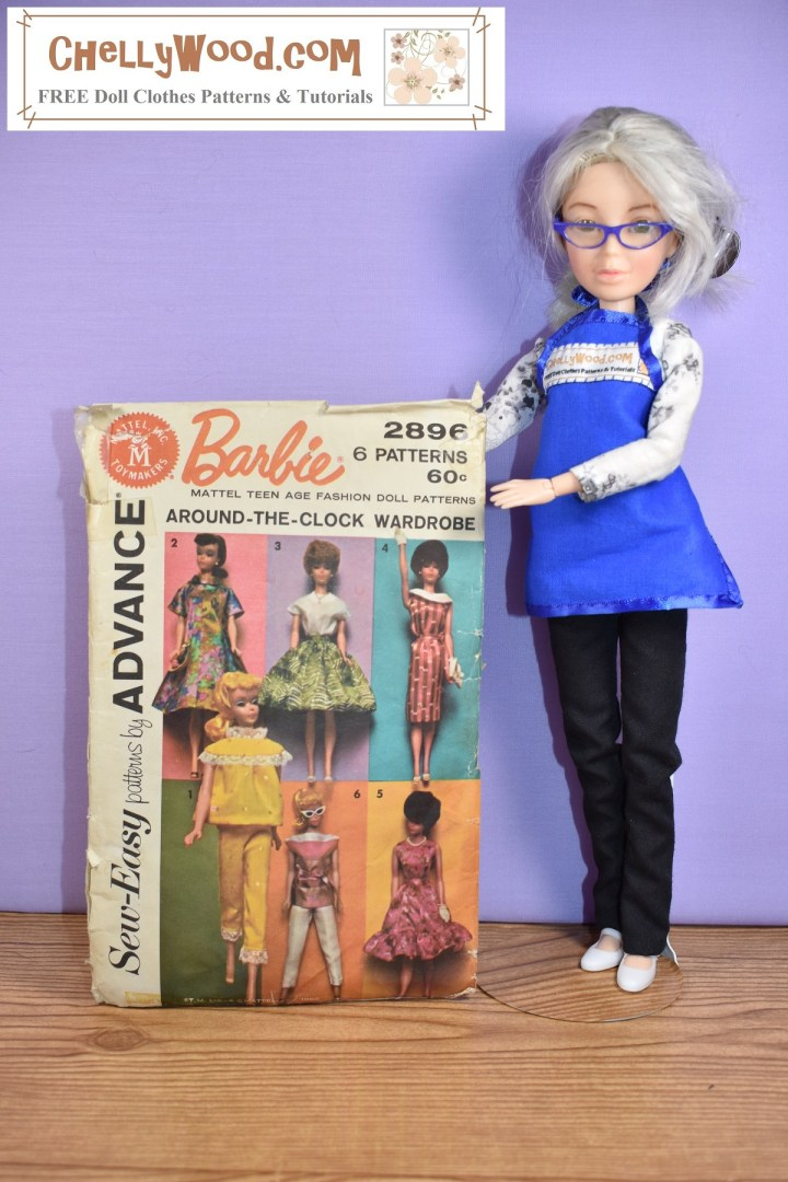 The image shows the Chelly Wood doll holding up Mattel Sew-Easy pattern #2896, which offers a series of patterns for vintage Barbies including a shirt-like dress, a circle skirt with waistband, a T-shirt like top, a Jackie-Kennedy style of dress, a pair of pajamas with top and bottom, a pair of capri pants with boat neck shirt, and a pretty sleeveless dress with ruffle. These patterns are not for sale on ChellyWood.com, but you can find similar patterns that can be downloaded for free on ChellyWood.com (a website best known for its free printable sewing patterns for making doll clothes to fit dolls of many shapes and all different sizes).