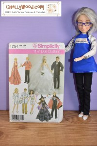 This image shows Simplicity fashion doll clothes pattern #4754, which includes nurse/doctor costumes for Ken and Barbie, a Halloween witch and vampire costume for Barbie and Ken dolls, a wedding dress for Barbie with a tuxedo for Ken, and a high-collar villain costume for Barbie with a matching dinner jacket outfit for Ken. These patterns are not some of Chelly Wood's own doll clothes patterns, but rather, these are an older selection of patterns that were once published by Simplicity. The article suggests buying these patterns on eBay as uncut patterns, and in the article Chelly Wood also shares some of her own Halloween costumes which she designed to fit Barbie, Ken, and other 11.5 inch dolls. Please visit ChellyWood.com for free printable sewing patterns for making doll clothes to fit dolls of many shapes and all different sizes.