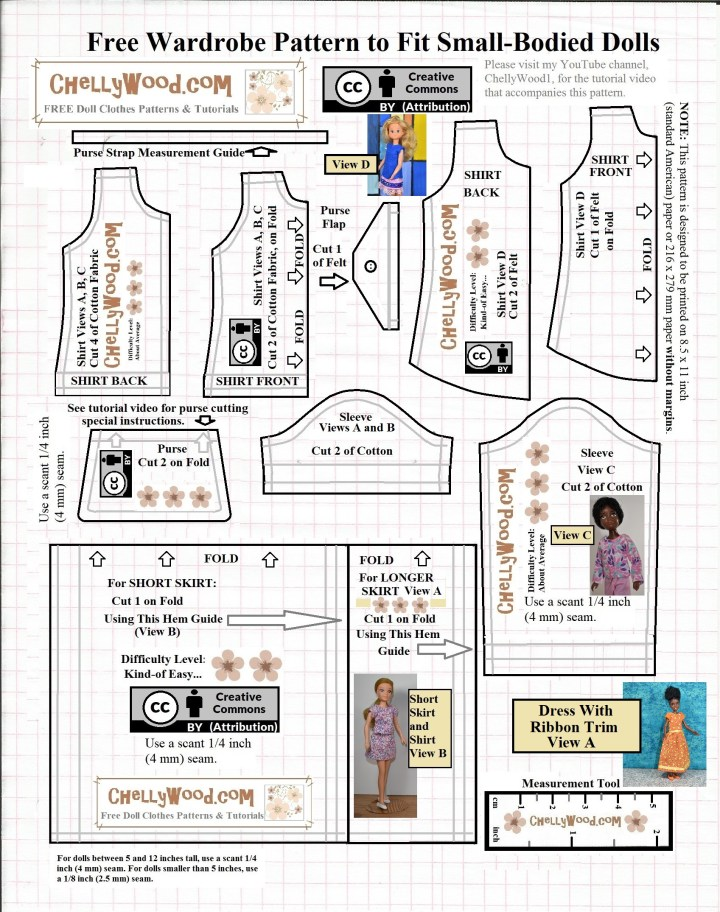 """This is the JPG image of a free printable PDF doll clothes sewing pattern for making a complete wardrobe that will fit many 8 or 9 inch (20 to 23 cm) dolls like Stacie dolls, World of Love dolls, Sunshine Family dolls, Bratz dolls, Breyer Rider dolls, Tinkerbell and other Disney fairy dolls, Mego Wizard of Oz and other Mego action figures, and much more. The wardrobe includes one felt sleeveless shirt, a bodice for both a long-sleeved and a short-sleeved shirt, a purse, and two different lengths of skirts. These patterns can be combined to create a whole wardrobe for 8"""" or 9' dolls (20 cm, 21 cm, or 22 cm dolls) or you can use the patterns themselves to create different styles of dresses. Please go to ChellyWood.com to find the free printable PDF sewing pattern and all the tutorial videos you'll need to make the outfits shown in this JPG pattern image."""