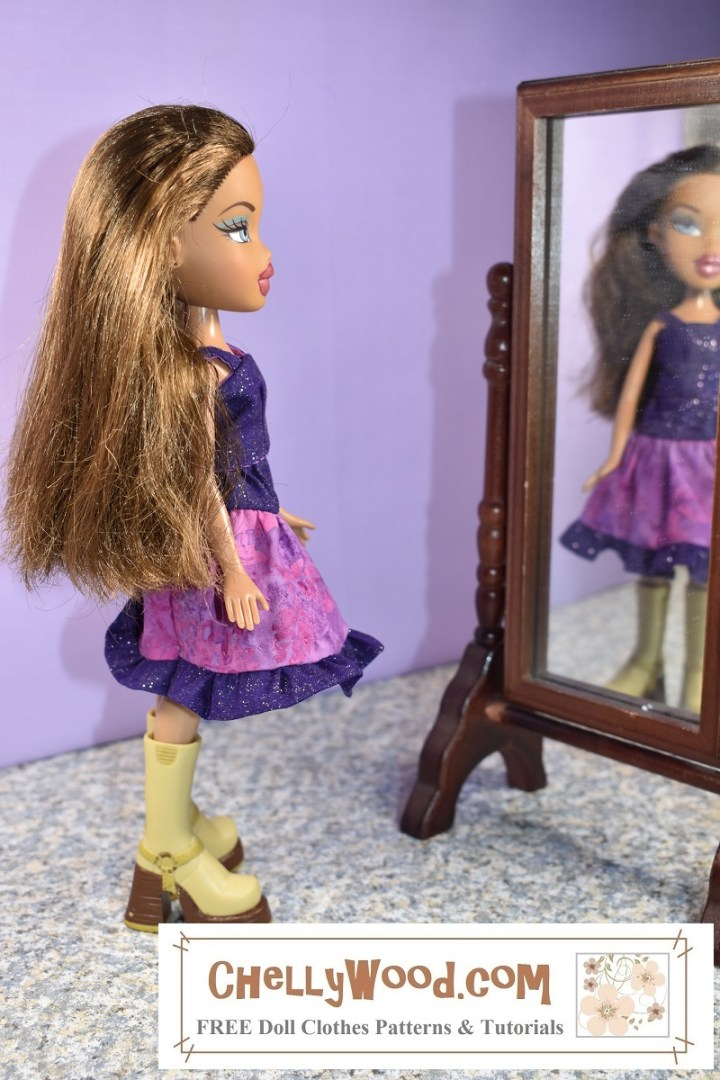 Here we see an 8-inch (20 cm) Bratz doll wearing a purple handmade tank top with a pink and purple 3-tier skirt with a ruffle. The doll stands in front of a mirror, and in the mirror, we see the doll's blurred reflection, as though she's looking at her reflection in that mirror.