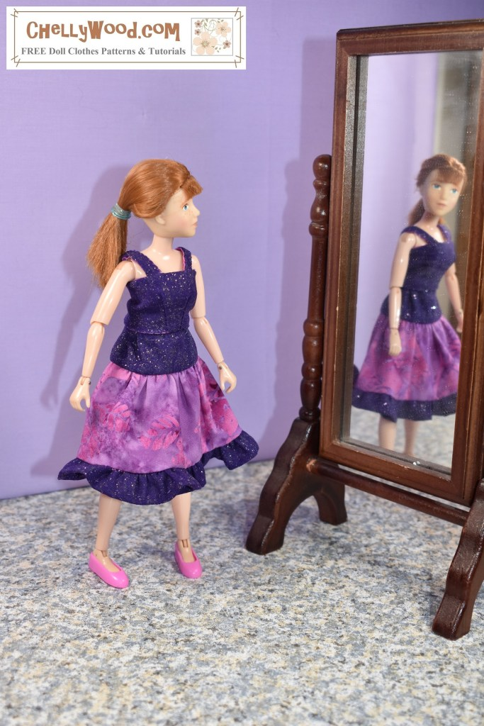 The image shows an 8 Inch Breyer Rider doll or action figure wearing handmade doll clothes designed and sewn by Chelly Wood. The doll clothes include a cotton tank top and a 3-tier skirt. They're made of purple sparkly and purple tie-dyed fabrics that coordinate nicely. If you'd like to make this outfit, the patterns and helpful tutorial videos can be found at the link provided in the caption.