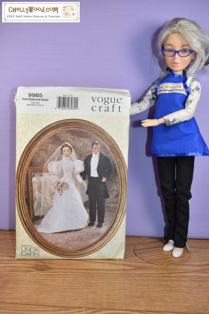 The image shows the Chelly Wood doll holding up Vogue Craft Pattern #9985. This pattern appears to be for sewing a Victorian Ken and Barbie doll wedding set of clothes. The dress has a high collar, puffy sleeves that narrow from just above the elbow to the wrist, and a tapered bodice. The Ken attire includes a tuxedo jacket with wide lapels, a pair of trousers, and a Victorian high-collar shirt.
