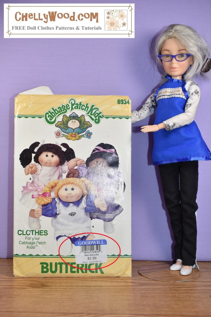 "The image shows the Chelly Wood (Spin Master Liv) doll holding up a pattern for Cabbage Patch Kids dresses. The second hand store price on the package is circled in red, and it says ""$2.99"" as a cost for the patterns at a GoodWill second-hand store."
