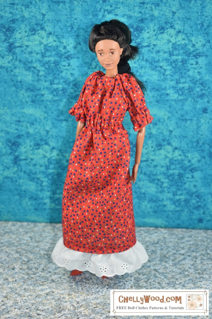 The image shows a handmade doll dress with an elastic waist, elastic at the sleeves, and elastic at the neckline. The dress is made of red floral fabric. The bottom of the dress is edged with white eyelet ruffles. The overlay tells where to learn more about the pattern used to make this dress: ChellyWood.com