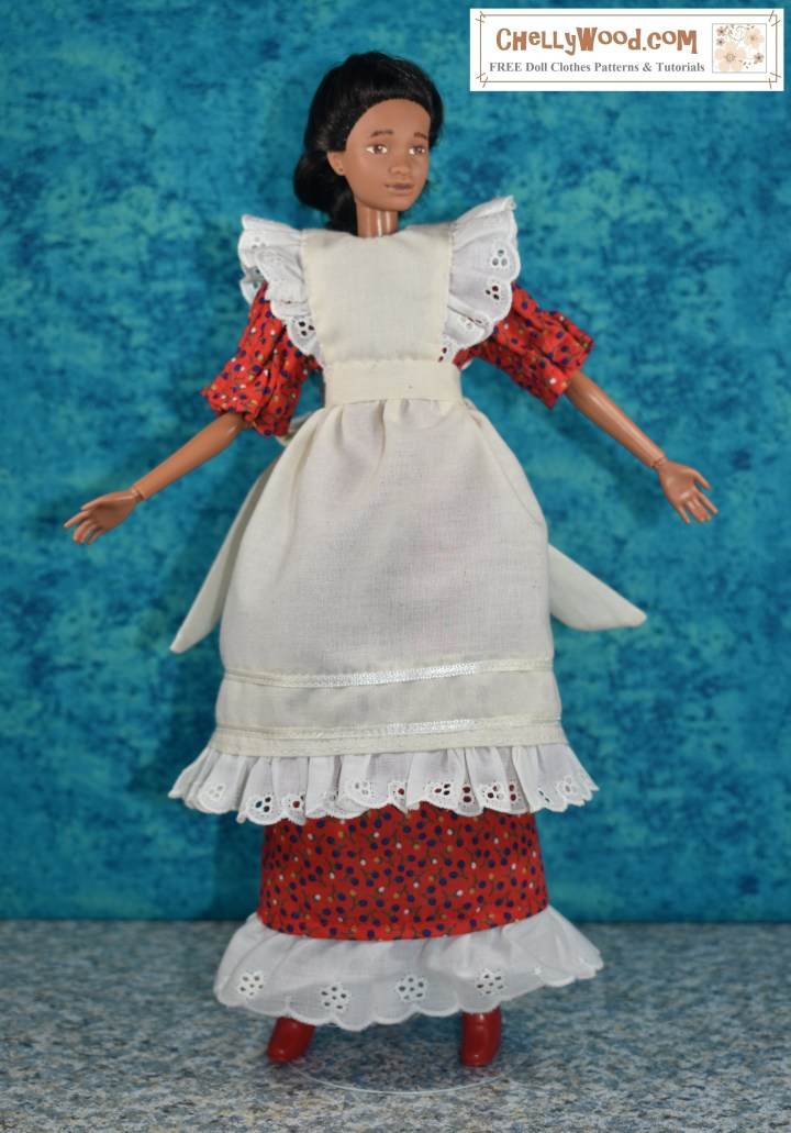 "Here we see a Mattel Barbie modeling a handmade ""pioneer-style"" dess and pinafore. The article that this image accompanies describes how a sewist can mix and match doll clothes patterns to come up with a new look or to fill the void when a craft pattern is missing some of the pattern pieces. Please visit ChellyWood.com to learn more about mixing and matching craft patterns and/or doll clothes sewing patterns to create a complete doll wardrobe for your Barbie or other dolls. ChellyWood.com offers free printable sewing patterns for making doll clothes for dolls of many shapes and all different sizes. It also offers advice for the beginning sewist / sewer who is making doll clothes."