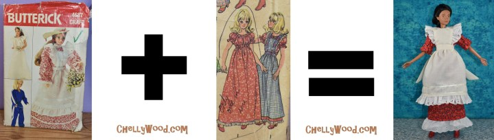"This image accompanies an article on mixing and matching doll clothes patterns. It shows Butterick Craft pattern 4687 followed by a plus sign, followed by a close-up image of two doll clothes items from McCall's Craft Pattern 83428, followed by an ""equals"" sign, followed by a completed doll dress and pinafore. The dress pattern came from McCall's craft pattern 83428 while the pinafore pattern came from Butterick pattern #4687. This outfit was made by Chelly Wood, the doll clothing designer. She combined the McCall's pattern (which was incomplete) with the Butterick pattern to create the handmade dress and pinafore we see in this featured image. The website where Chelly Wood posts her sewing adventures in making doll clothes like this is watermarked on this ""formula"" image: ChellyWood.com so please visit ChellyWood.com for free printable sewing patterns and tutorial videos for making doll clothes to fit dolls of many shapes and all different sizes."
