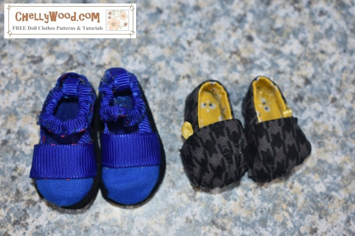 The image shows two pairs of doll shoes. A blue pair of Maryjanes sits next to a black houndstooth pair of Toms-style loafers. The blue Mary Janes are slightly larger than the black houndstooth fabric loafers. Please visit ChellyWood.com for your free printable patterns and tutorial videos for making these and other doll crafts / doll shoes.