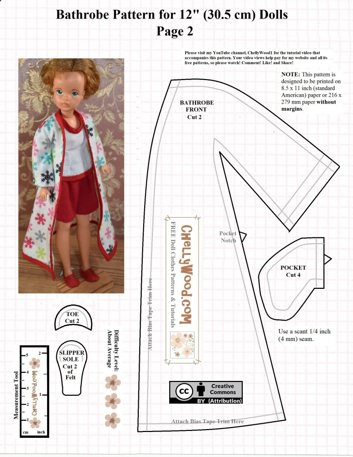 This is a free printable PDF sewing pattern for making a bathrobe to fit the Ideal Toy Corp. Tammy doll or Sindy dolls or other 12 inch fashion dolls with similar body measurements. This bathrobe pattern includes a pocket pattern, a bathrobe front, and a slipper pattern. This is page 2 of a two page PDF sewing pattern which can be downloaded and printed from ChellyWood.com