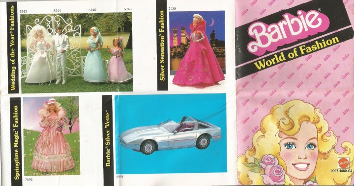 "This image shows the Barbie ""Silver Vette"" car sold by Mattel, along with a wedding set, an evening gown with cape, and a pink country gown. Visit Chelly Wood's eBay store if you're interested in buying this 1985 ""Barbie World of Fashion"" catalog. Here's the link: https://www.ebay.com/sch/chellywood/m.html?_nkw=&_armrs=1&_ipg=&_from="